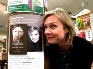 At The Bookworm in Omaha. Looking especially tired beside the publicity materials. Photo: Gediminas Murauskas.